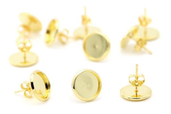 Ohrstecker Rohlinge Fassung Gold 10mm
