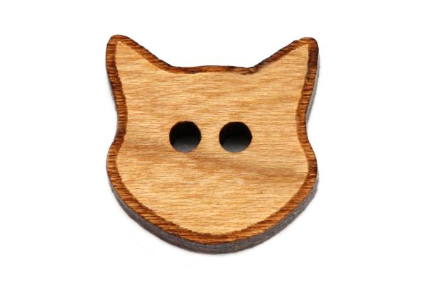 Holzknöpfe Katzenkopf