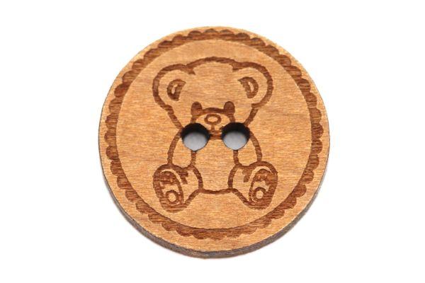 Holzknöpfe Gravur Teddybär 12-30mm
