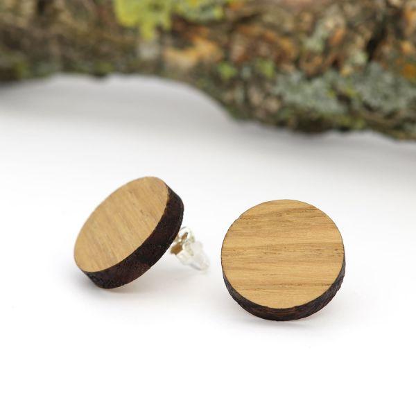 Holzohrringe Eiche rund 17mm
