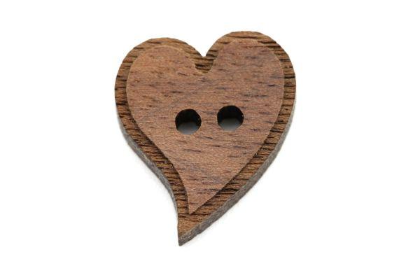 Holzknöpfe Herz Kursiv