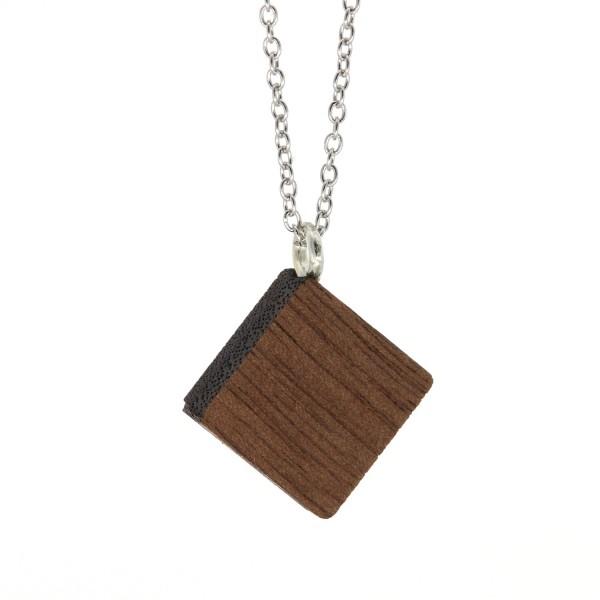Halskette Viereck Nussbaum Holz Silber Kette