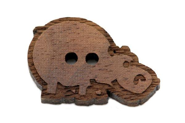 Holzknöpfe Nilpferd
