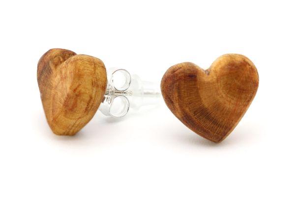 Ohrringe Herz Pflaumenholz 12mm