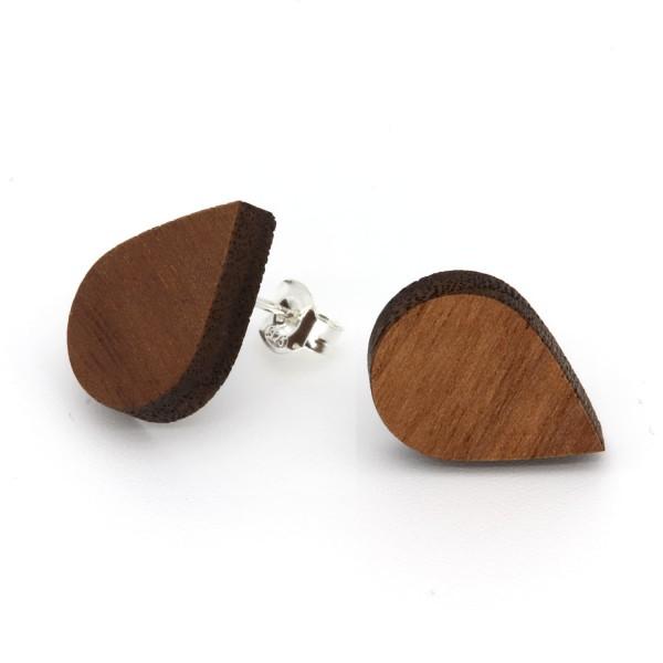 Holzohrringe Tropfenform Nussbaum Holz