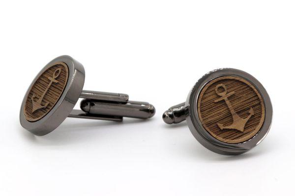 Manschettenknöpfe Schwarz - 3D Anker