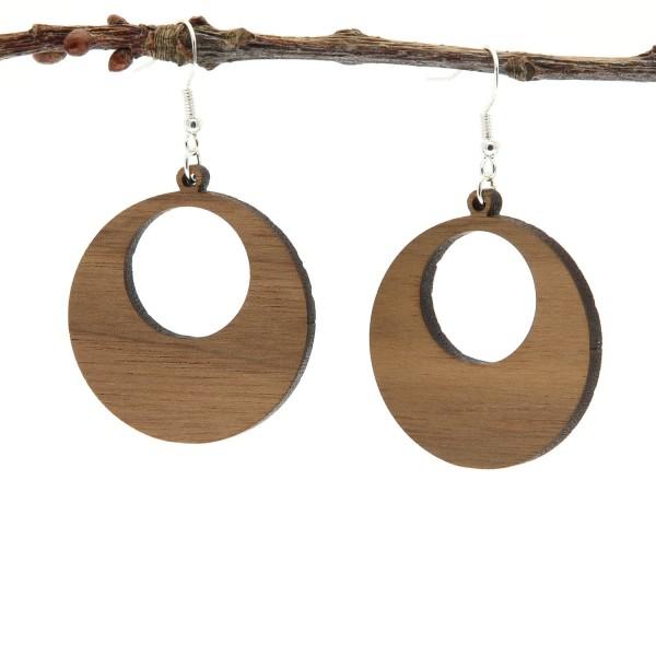 Ohrring aus Holz rund dunkel Nussbaum