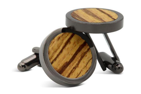 Manschettenknöpfe aus Holz Schwarz Zebrano