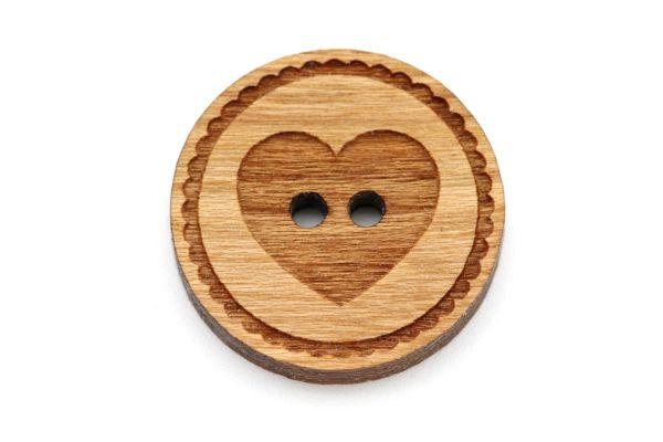 Holzknöpfe Gravur Herz Kirsche Holz rot