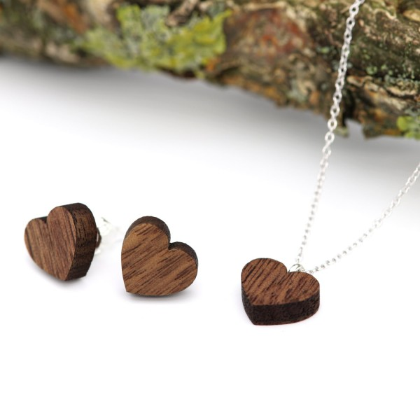 Holzschmuck Herzset Ohrringe und Kette