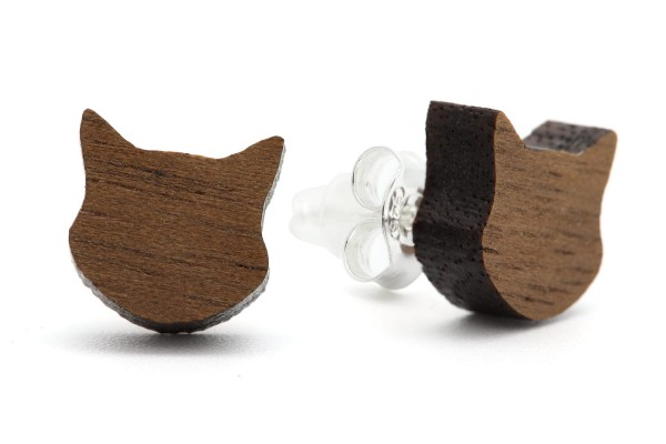 NaturPur Katzenkopf Holzohrringe
