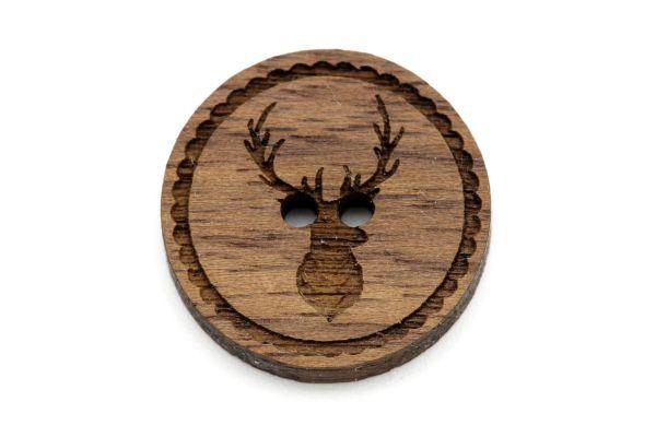 Knöpfe aus Holz mit Gravur Hirsch Nussbaum dunkel