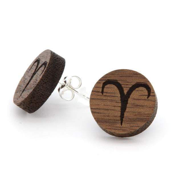 Ohrring aus Holz Sternzeichen Widder Gravur