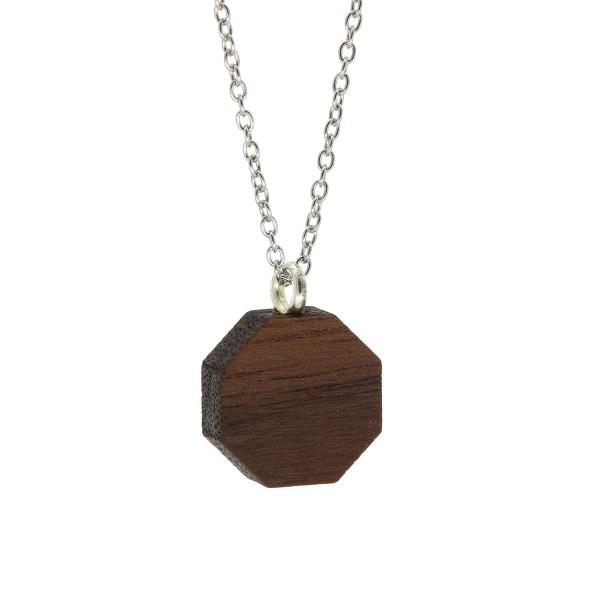 Halskette Holz Anhänger Achteck Nussbaum Silber Kette