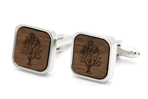 Manschettenknöpfe Silber Eckig - Baum