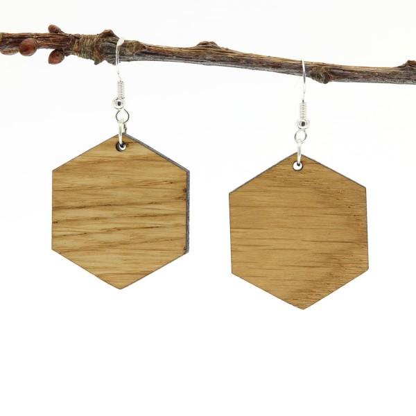 Ohrring Eichenholz Silber modern Hexagon