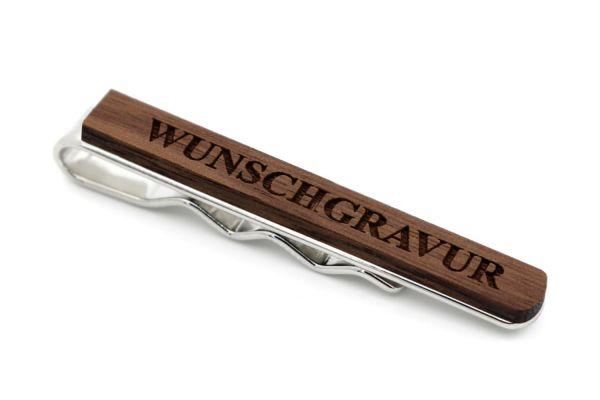 Krawattennadel Nussbaum - individuelle Gravur