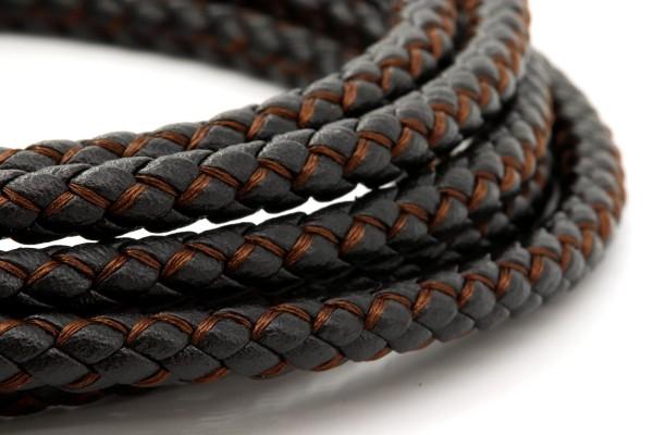 schwarzes geflochtenes Kunstleder Armband zweifarbig