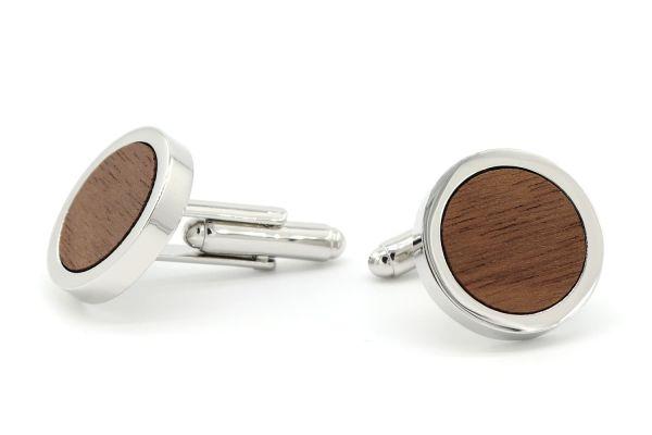 Holz Manschettenknöpfe Herren Silberne