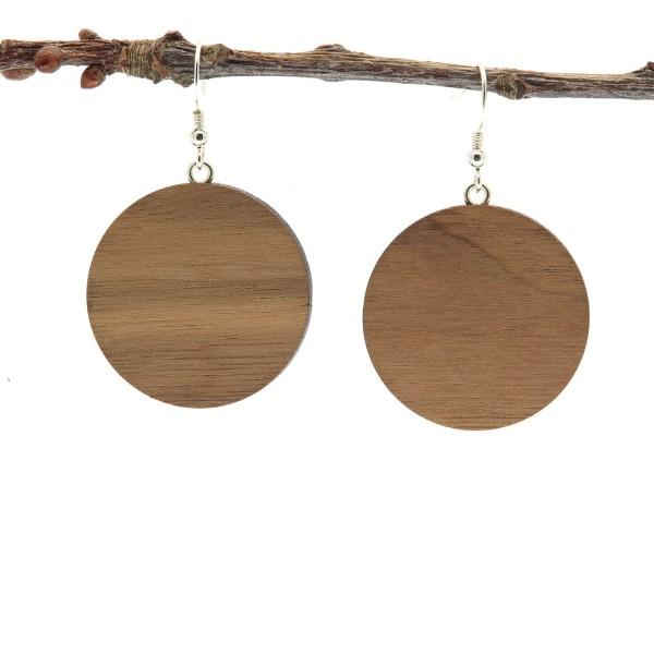 Holzohrringe Hänger modern Nussbaum Holz