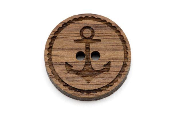 Holzknöpfe mit Gravur Anker Nussbaum Holz
