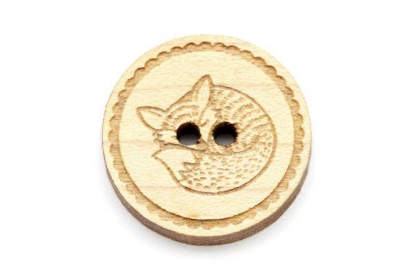Knöpfe aus Holz Gravur Fuchs Ahorn hell