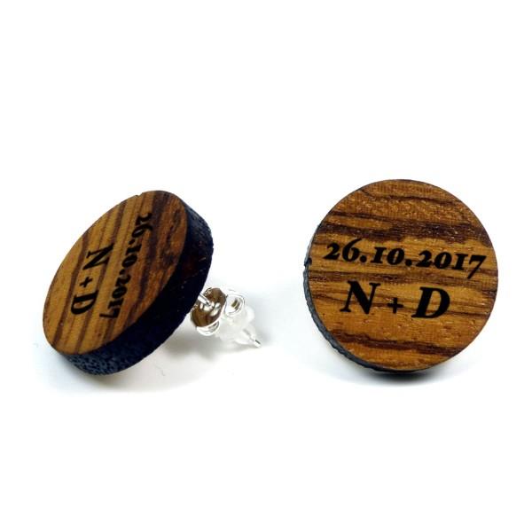 Holzohrringe individuelle Gravur Initialien & Datum