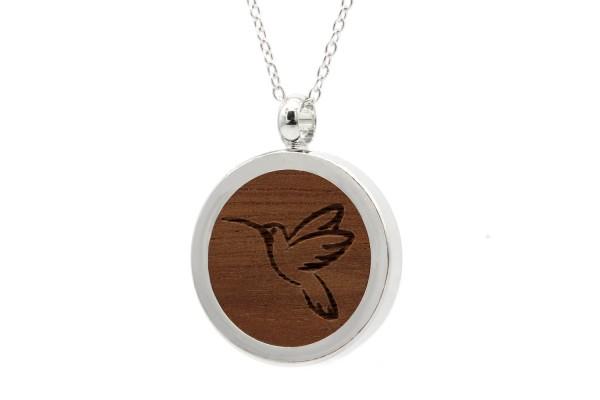 Halskette mit Anhänger Holz Kolibri Gravur