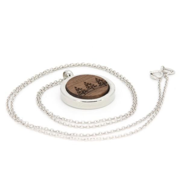 Halskette Medaillon Holz Wald Gravur