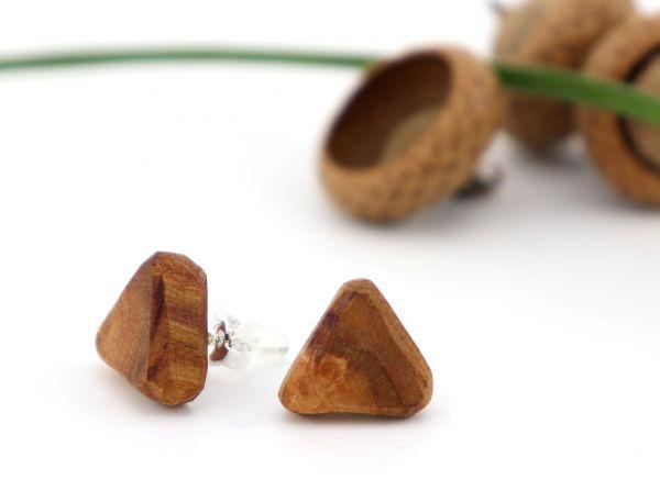 Holzohrring Dreieck markantes Pflaumenholz