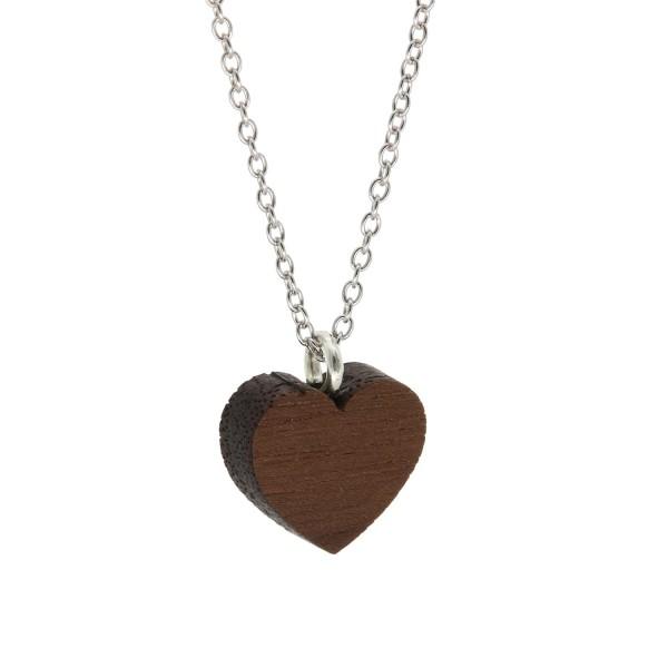 Halskette Herzform Nussbaum Holz Silber Kette