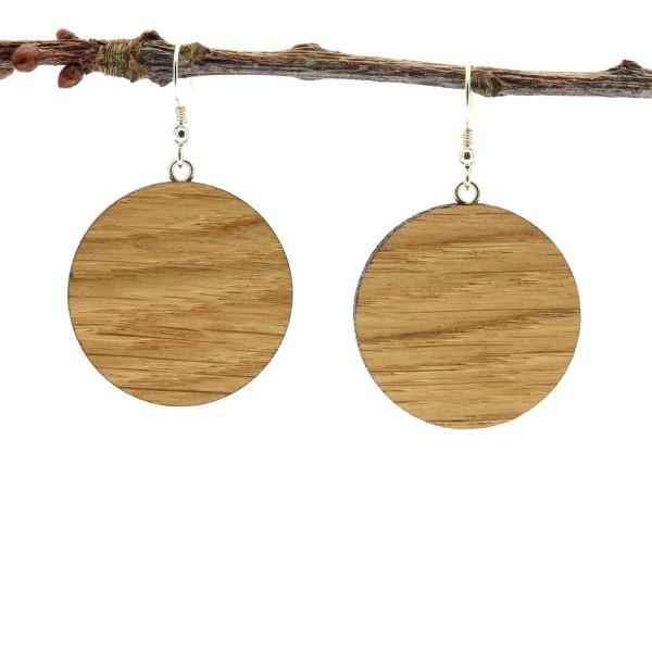 Ohrringe aus Holz rund Eichenholz groß