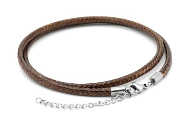 Halskette braunes Kunstleder 2-3mm geflochten 45-50cm