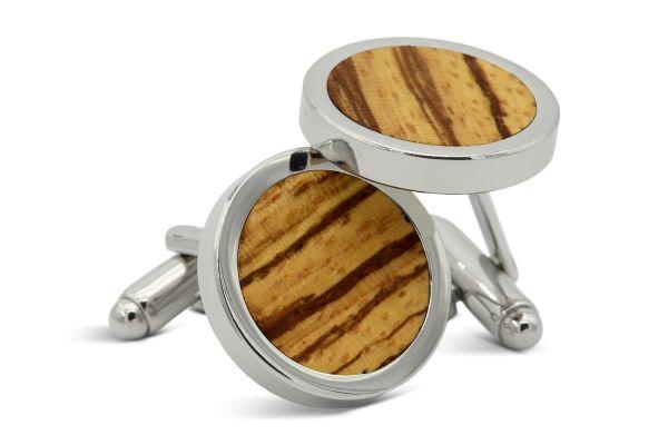 Manschettenknöpfe Herren Holz Zebrano Silber
