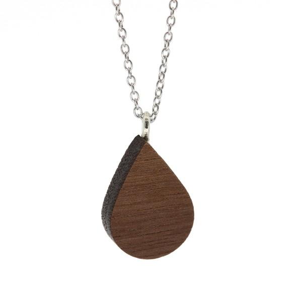 Halskette Tropfenform Nussbaum Holz Silber Kette