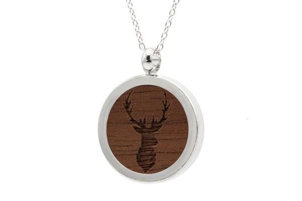 Halskette mit Anhänger Holz Hirsch Gravur