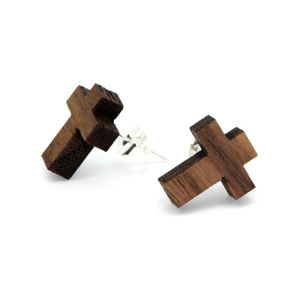 Holzohrring Kreuz Nussbaum Ohrschmuck