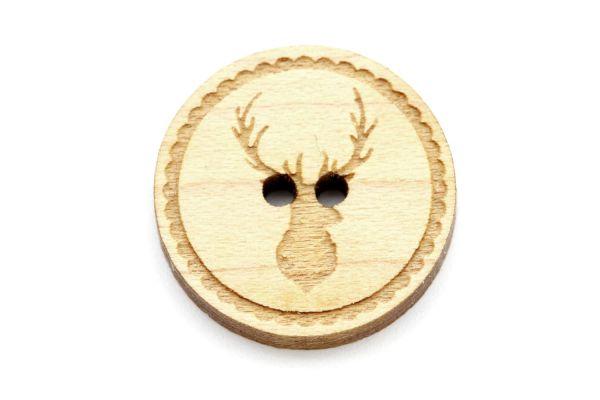 Holzknöpfe mit Hirschgravur Ahorn Holz