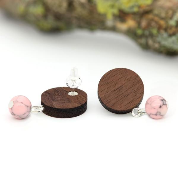 Holzohrringe rosa Perle Nussbaumholz Silber