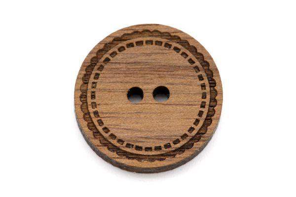 Knöpfe aus Holz Gravur Verzierung Nussbaum Holz braun