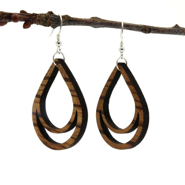 Holzohrring Ohrhänger Holz Tropfenform Zebrano