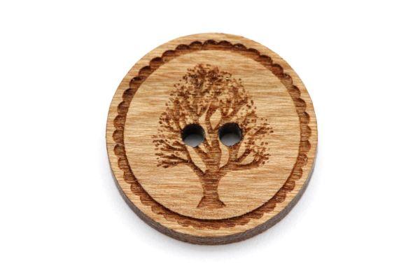 Holzknöpfe Gravur Lebensbaum Kirschholz