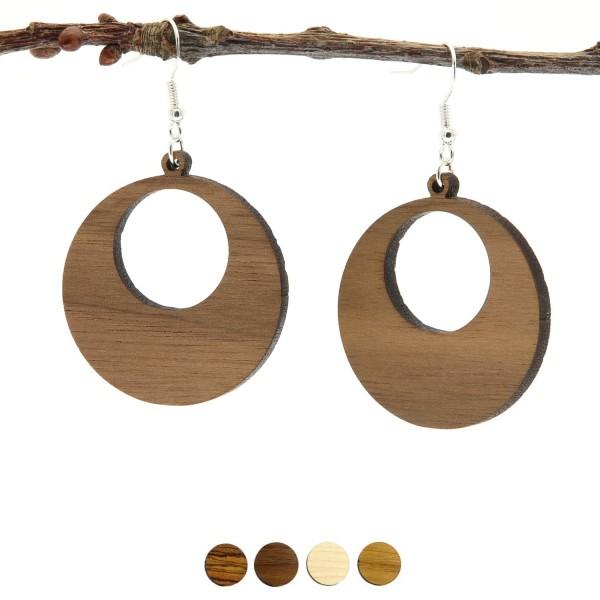 Holzohrring rund handmade Holzschmuck