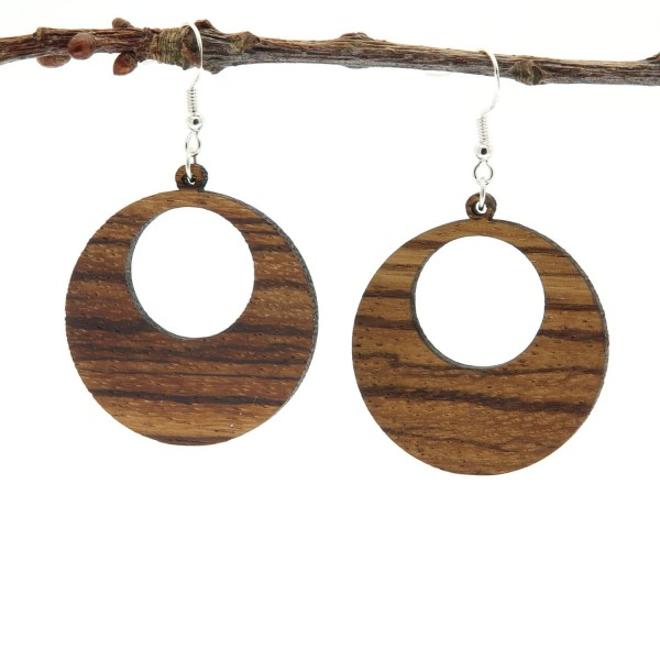 Ohrring aus Holz rund gestreift Zebrano Moni