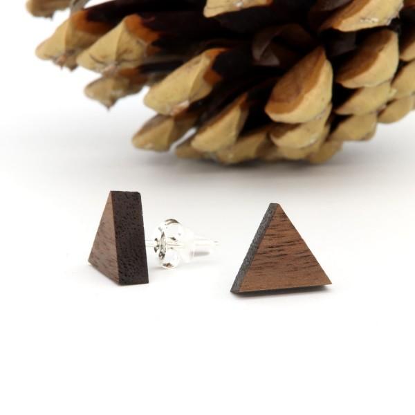 Holzohrring Dreieck Nussbaum Holz modern