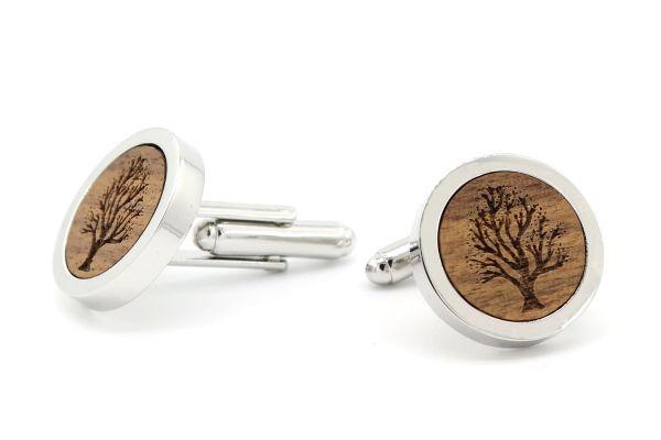 Herren Manschettenknöpfe Silber Baum Gravur