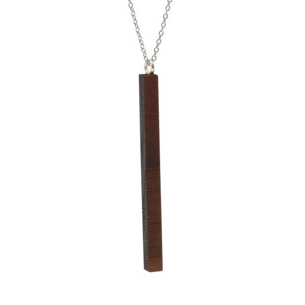Holz Halskette mit Stabform Anhänger Silberkette