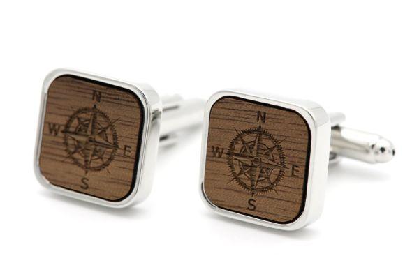 Manschettenknöpfe Silber Eckig - Kompass