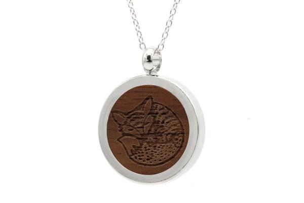 Halskette mit Anhänger Holz Fuchs Gravur