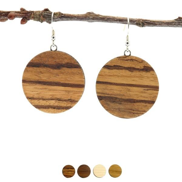 Ohrringe aus Holz rund Zebrano groß